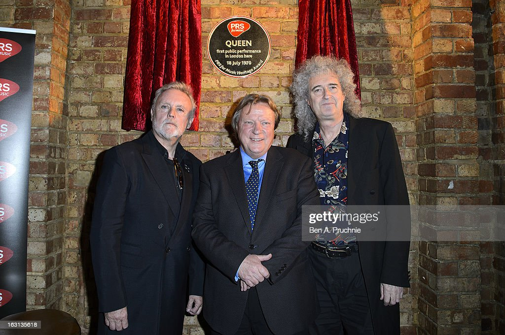 Roger Taylor, Guy Fletcher and <a gi-track='captionPersonalityLinkClicked' href=/galleries/search?phrase=Brian+May&family=editorial&specificpeople=158059 ng-click='$event.stopPropagation()'>Brian May</a> attend a photocall as Queen are awarded The Heritage award at Imperial College London on March 5, 2013 in London, England.
