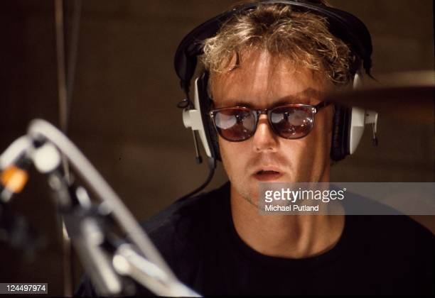 Roger Taylor of Queen recording at Metropolis Studios in Chiswick London for Rock Aid Armenia the Armenian earthquake appeal 8th July 1989