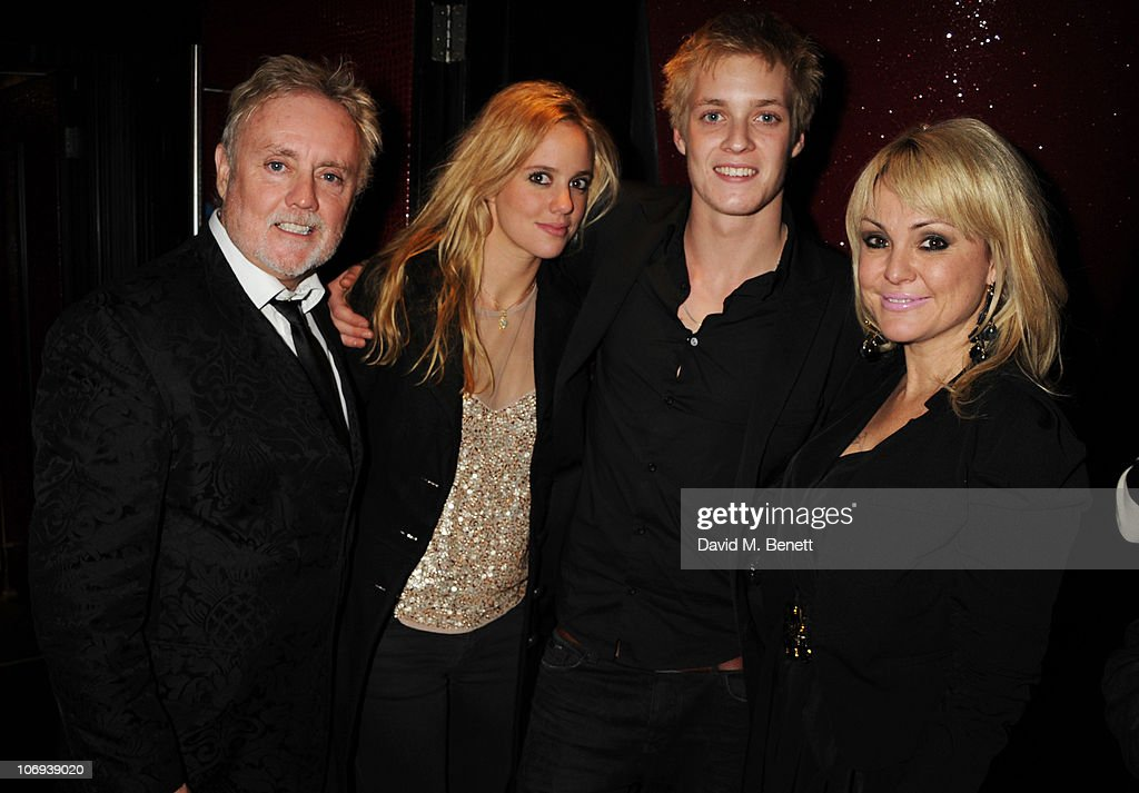 Roger Taylor of Queen, Rory Eleanor Taylor, Rufus Taylor and and Sarina Potgieter attend the afterparty following The Prince's Trust Rock Gala 2010 supported by Novae at The Baglioni Hotel on November 17, 2010 in London, England.