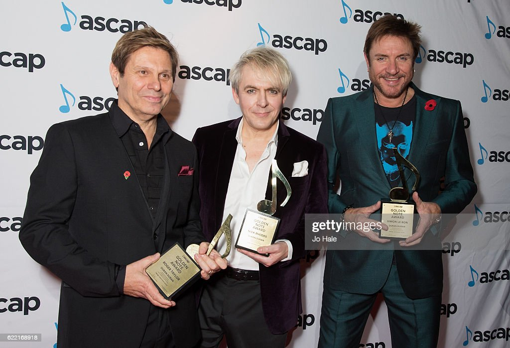 Roger Taylor, Simon Le Bon and Nick Rhodes of Duran Duran win the Golden Note Award at the ASCAP Awards at one Embankment on November 10, 2016 in London, England.