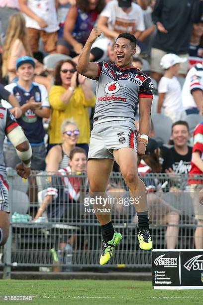 Roger Tuivasa Sheck of the Warriors celebrates a try scored during golden point extra time during the round five NRL match between the Sydney...