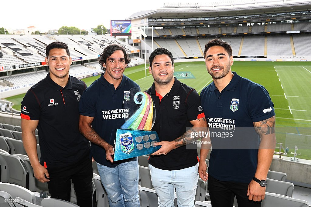 Roger Tuivasa-Scheck, Johnathan Thurston, Issac Luke and Shaun Johnson pose with the NRL Nines trophy during the 2017 Auckland Nines Launch at Eden Park on October 5, 2016 in Auckland, New Zealand.