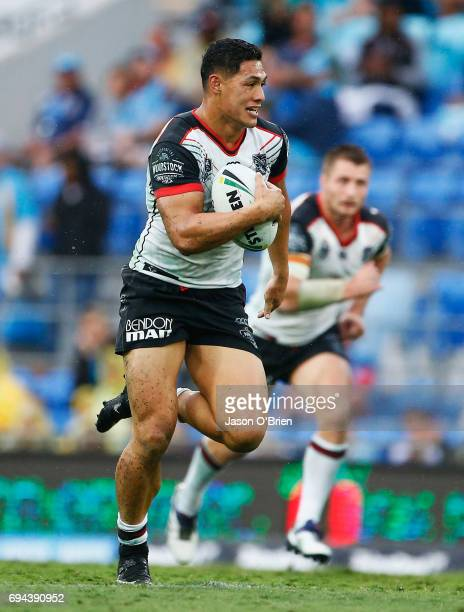 Roger TuivasaSheck in action during the round 14 NRL match between the Gold Coast Titans and the New Zealand Warriors at Cbus Super Stadium on June...
