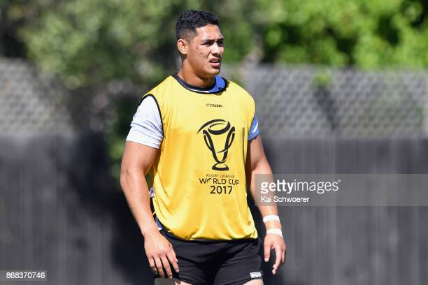 Roger TuivasaSheck of the Kiwis looks on during a New Zealand Kiwis Rugby League World Cup training session at Linfield Park on October 31 2017 in...