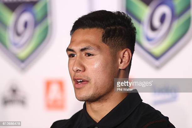 Roger TuivasaSheck of the New Zealand Warriors speaks to the media during the 2017 Auckland Nines Launch at Eden Park on October 5 2016 in Auckland...