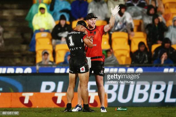 Roger TuivasaSheck of the Warriors comes off the field after a head knock during the round two NRL match between the New Zealand Warriors and the...