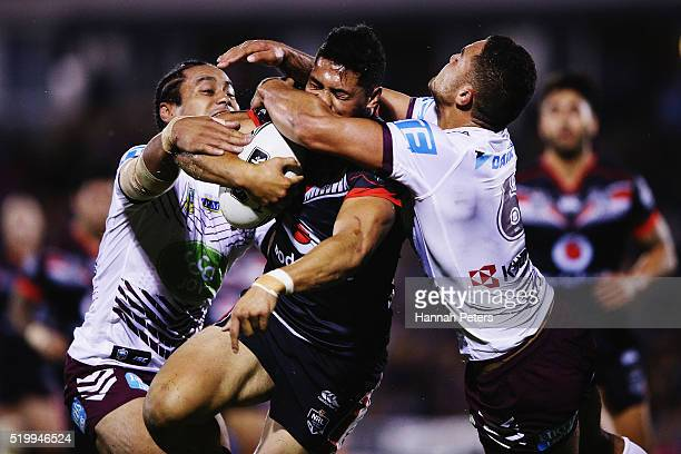 Roger TuivasaSheck of the Warriors is tackled by Steve Matai of the Sea Eagles and Dylan Walker of the Sea Eagles during the round six NRL match...
