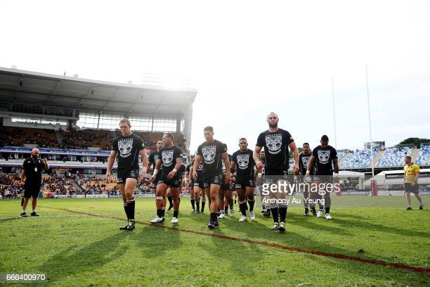 Roger TuivasaSheck of the Warriors leads the team back to the dressing room prior to the round six NRL match between the New Zealand Warriors and the...