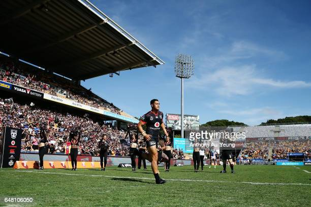 Roger TuivasaSheck of the Warriors leads the team out during the round one NRL match between the New Zealand Warriors and the Newcastle Knights at Mt...