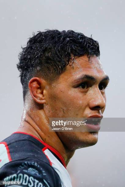 Roger TuivasaSheck of the warriors looks on during the round 14 NRL match between the Gold Coast Titans and the New Zealand Warriors at Cbus Super...