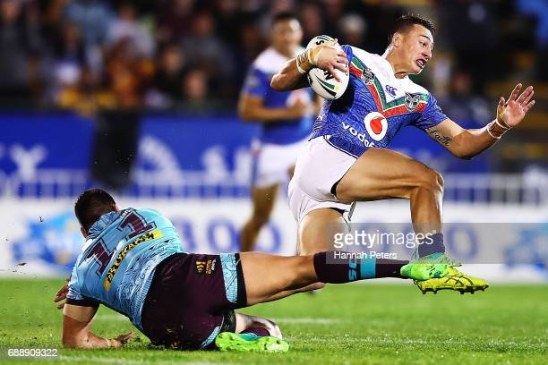 Roger TuivasaSheck of the Warriors makes a break during the round 12 NRL match between the New Zealand Warriors and the Brisbane Broncos at Mt Smart...