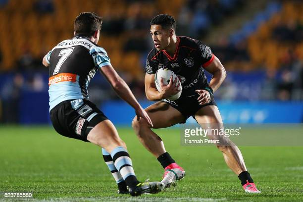 Roger TuivasaSheck of the Warriors makes a break during the round 21 NRL match between the New Zealand Warriors and the Cronulla Sharks at Mt Smart...
