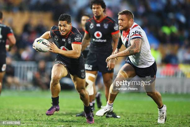 Roger TuivasaSheck of the Warriors makes a break during the round nine NRL match between the New Zealand Warriors and the Sydney Roosters at Mt Smart...