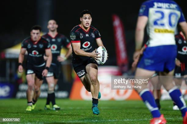 Roger TuivasaSheck of the Warriors makes a run during the round 16 NRL match between the New Zealand Warriors and the Canterbury Bulldogs at Mt Smart...
