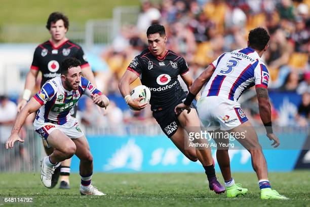 Roger TuivasaSheck of the Warriors makes a run during the round one NRL match between the New Zealand Warriors and the Newcastle Knights at Mt Smart...