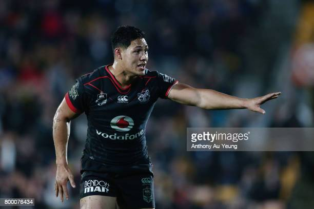 Roger TuivasaSheck of the Warriors reacts during the round 16 NRL match between the New Zealand Warriors and the Canterbury Bulldogs at Mt Smart...