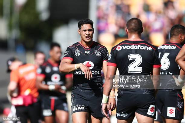 Roger TuivasaSheck of the Warriors reacts during the round one NRL match between the New Zealand Warriors and the Newcastle Knights at Mt Smart...
