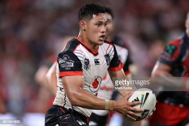 Roger TuivasaSheck of the Warriors runs the ball during the round four NRL match between the St George Illawarra Dragons and the New Zealand Warriors...