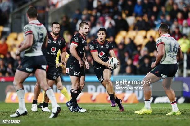 Roger TuivasaSheck of the Warriors runs the ball during the round nine NRL match between the New Zealand Warriors and the Sydney Roosters at Mt Smart...