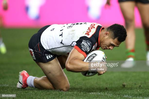 Roger TuivasaSheck of the Warriors scores a try during the round 24 NRL match between the South Sydney Rabbitohs and the New Zealand Warriors at ANZ...