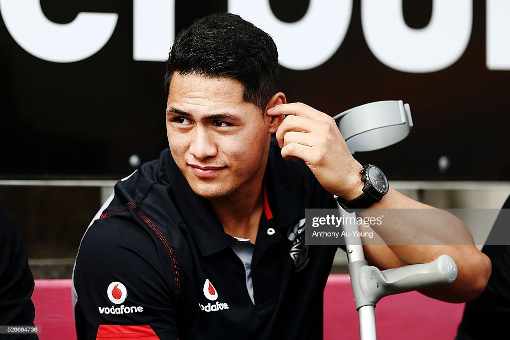 Roger Tuivasa-Sheck of the Warriors watches from the bench supporting his teammates during the round nine NSW Intrust Super Cup Premiership match between the New Zealand Warriors and the Canterbury Bankstown Bulldogs at Mt Smart Stadium on May 1, 2016 in Auckland, New Zealand.