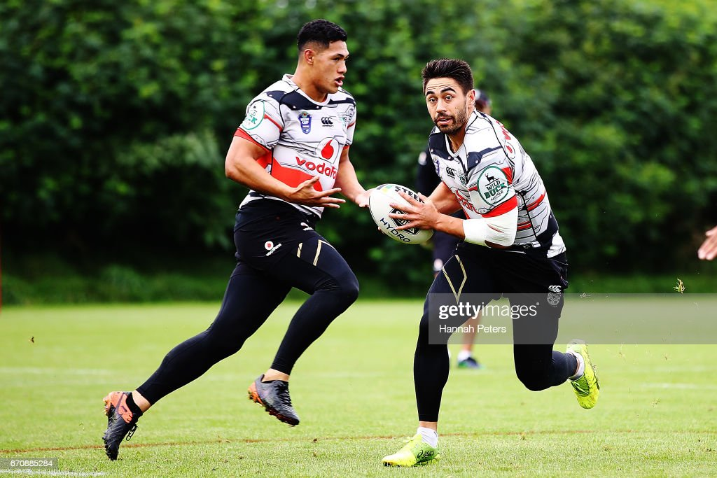 Roger Tuivasa-Sheck runs through drills with Shaun Johnson during a New Zealand Warriors NRL training session at Mt Smart Stadium on April 21, 2017 in Auckland, New Zealand.