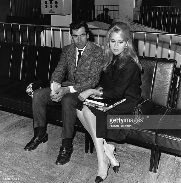 Roger Vadim film director and Jane Fonda American actress at London Airport ca 1965
