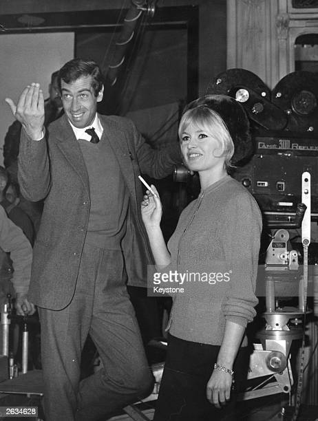 Roger Vadim the French playboy and film producer in a film studio with Brigitte Bardot the French film actress