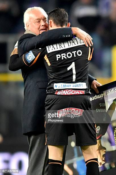 Roger Vanden Stock president of RSC Anderlecht and Silvio Proto goalkeeper of KV Oostende pictured during the Jupiler Pro League match between RSC...