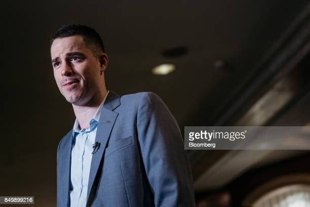 Roger Ver chief executive officer of Bitcoincom speaks during a Bloomberg Television interview on the sidelines of the Shape the Future Blockchain...
