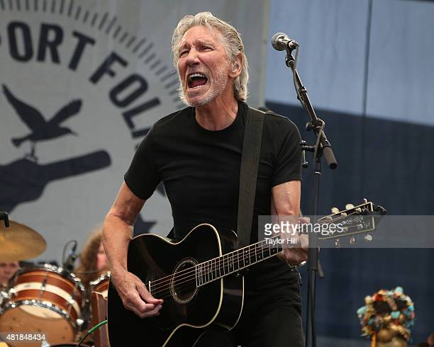Roger Waters performs during the 2015 Newport Folk Festival at Fort Adams State Park on July 24 2015 in Newport Rhode Island