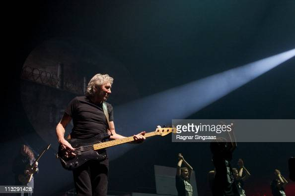 Roger Waters performs during The Wall Live tour concert at Telenor Arena on April 30 2011 in Oslo Norway