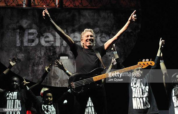 Roger Waters performs the Pink Floyd album 'The Wall' live on stage at Wembley Stadium on September 14 2013 in London England
