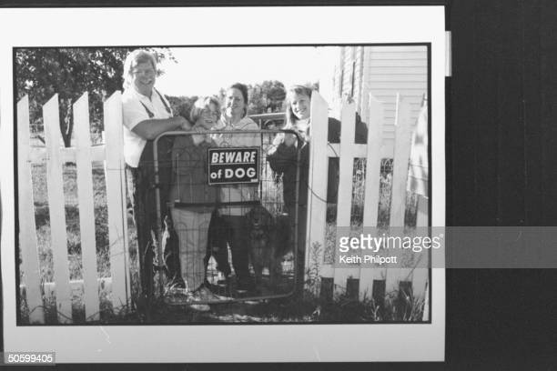 Roger Welsch author TV correspondent for CBS News Sunday Morning posing w daughter Antonia 2nd wife Linda golden retreiver dog daughter Joyce behind...