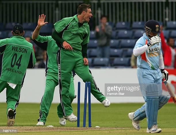 Roger Whelan of Ireland celebrates the wicket of Sachin Tendulkar of India during the One Day International match between Ireland and India at the...