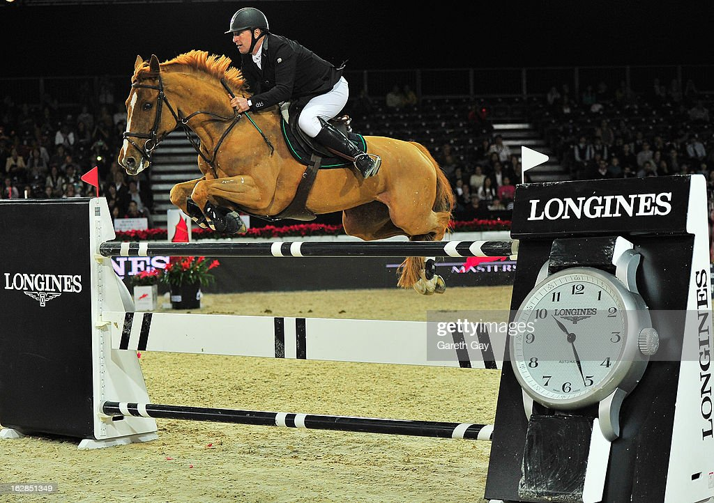 Roger Yves Bost of France rides Castle Forbes Cosma during the Furusiyya FEI Nations Cup on February 28, 2013 in Hong Kong.