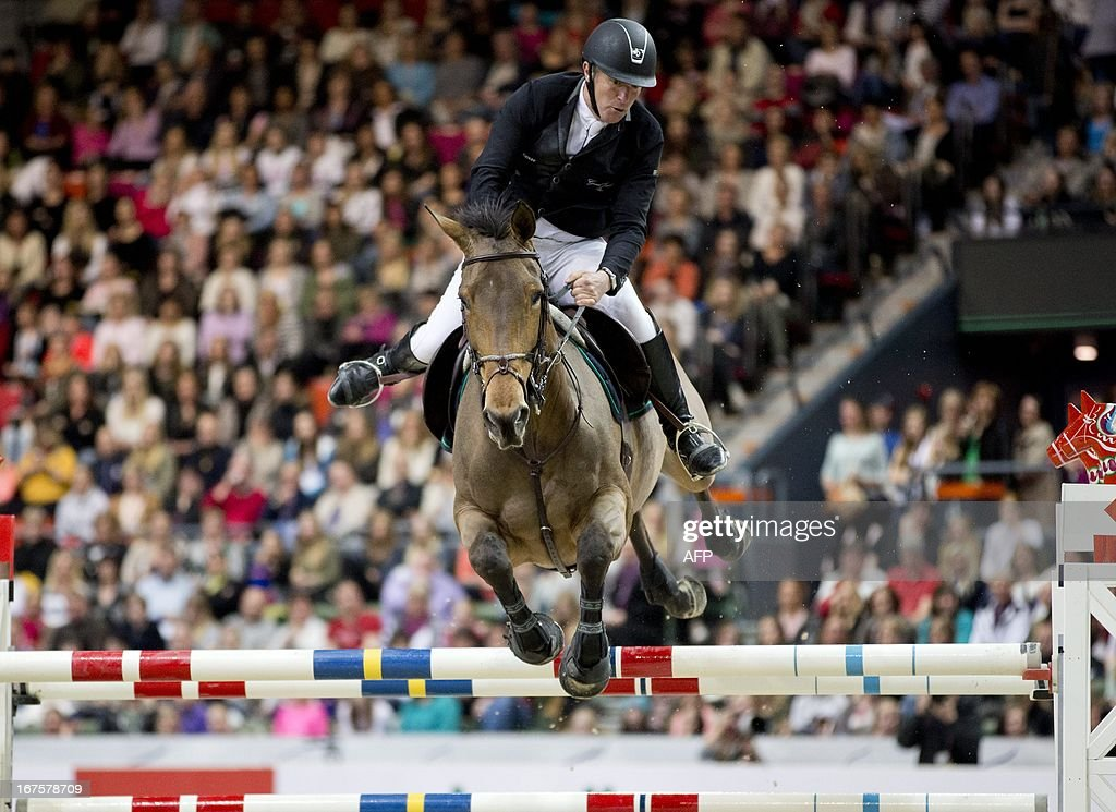 Roger Yves Bost of France, rides during the Rolex FEI World Cup Jumping final Friday April 26, 2013 during the Gothenburg Horse Show in Scandinavium. AFP PHOTO / ADAM IHSE / SCANPIX SWEDEN /SWEDEN OUT