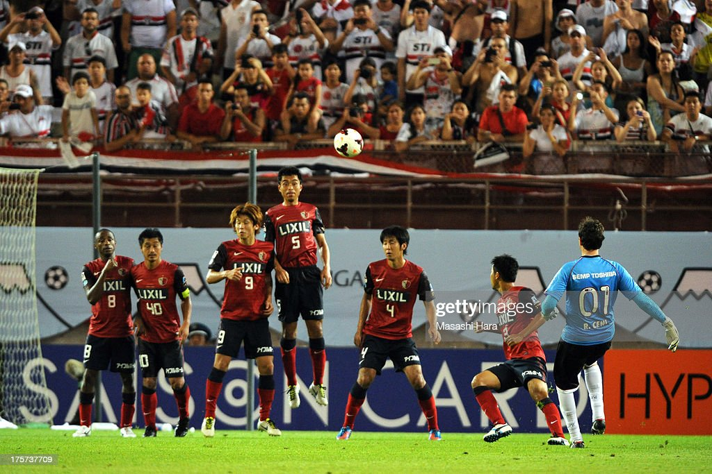 <a gi-track='captionPersonalityLinkClicked' href=/galleries/search?phrase=Rogerio+Ceni&family=editorial&specificpeople=490994 ng-click='$event.stopPropagation()'>Rogerio Ceni</a> #1 of Sao Paulo FC in action during the Suruga Bank Championship match between Kashima antlers and Sao Paulo FC at Kashima Soccer Stadium Stadium on August 7, 2013 in Kashima, Ibaraki, Japan.