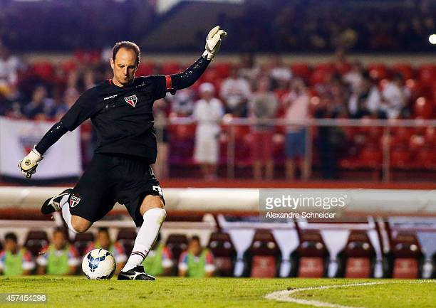 Rogerio Ceni of Sao Paulo scores their first goal during the match between Sao Paulo and Bahia for the Brazilian Series A 2014 at Morumbi stadium on...