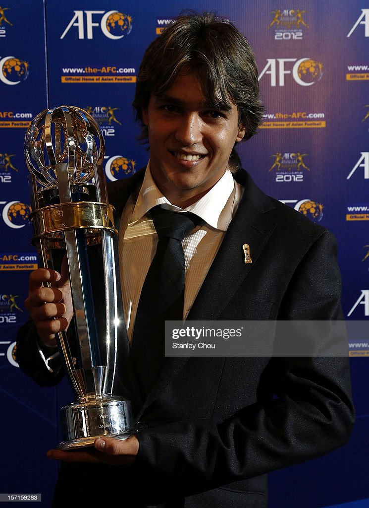 Rogerio de Assis Silva Coutinho of Brazil shows off The 2012 AFC Foreign Player of the Year Award during The 2012 AFC Annual Awards at the Mandarin Oriental Hotel on November 29, 2012 in Kuala Lumpur, Malaysia.
