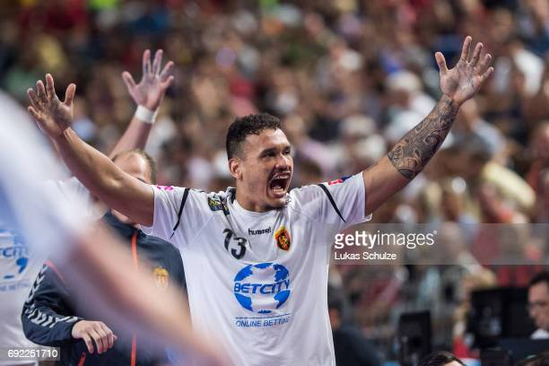 Rogerio Ferreira Moraes of Vardar celebrates during the VELUX EHF FINAL4 Final match between Paris SaintGermain Handball and HC Vardar at Lanxess...