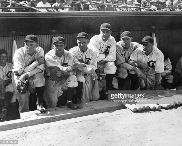 CHICAGO AUGUST 22 1930 Rogers Hornsby Eddie Farrell Ray Schalk George Kelly Zach Taylor Hack Wilson each an exGiant now playing for the Chicago Cubs...