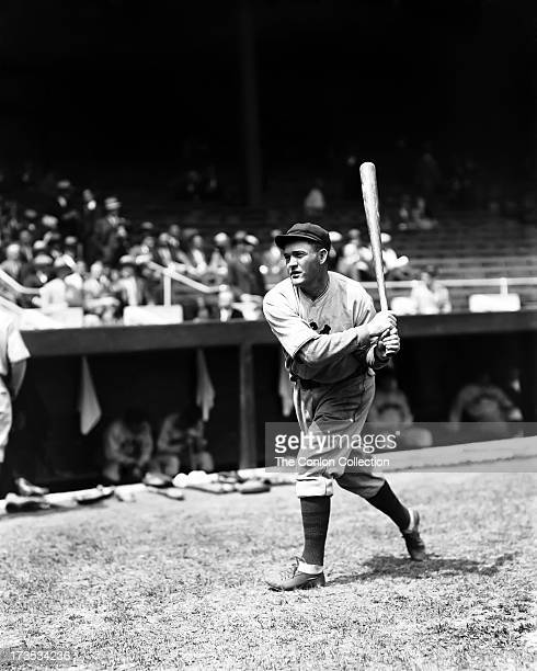 Rogers Hornsby of the Chicago Cubs swinging a bat in 1929