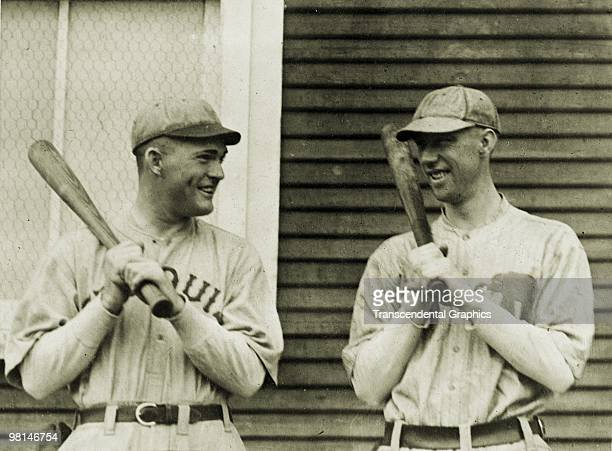 CHARLES LOUISIANA MARCH 1921 Rogers Hornsby of the St Louis Browns talks with Joe Dugan of the Philadelphia Athletics before a spring training game...