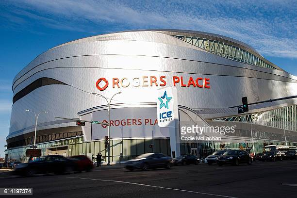 Rogers Place is pictured before regular season hockey begins between the Calgary Flames and the Edmonton Oilers on October 12 2016 in Edmonton...