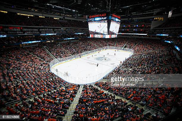 Rogers Place is seen from the Loge Level during the Edmonton Oilers home opener against the Calgary Flames on October 12 2016 at Rogers Place in...