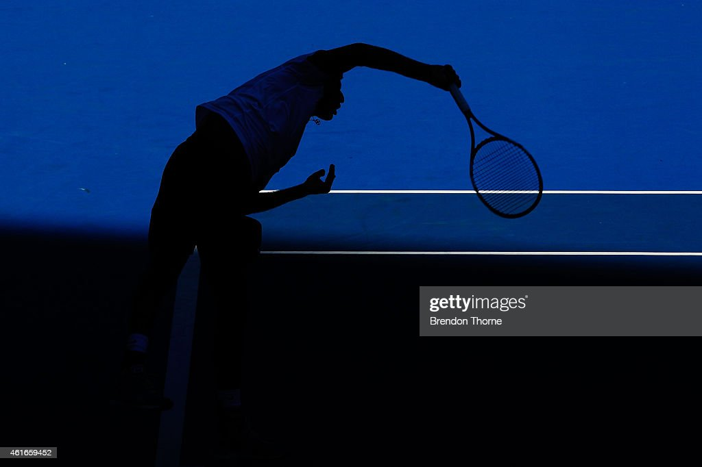 <a gi-track='captionPersonalityLinkClicked' href=/galleries/search?phrase=Rohan+Bopanna&family=editorial&specificpeople=571696 ng-click='$event.stopPropagation()'>Rohan Bopanna</a> of India and <a gi-track='captionPersonalityLinkClicked' href=/galleries/search?phrase=Daniel+Nestor&family=editorial&specificpeople=212827 ng-click='$event.stopPropagation()'>Daniel Nestor</a> of Canada serve in Men's Doubles Final Match against Jean-Julien Rojer of the Natherlands Horia Tecau of Romania and during day seven of the 2015 Sydney International at Sydney Olympic Park Tennis Centre on January 17, 2015 in Sydney, Australia.