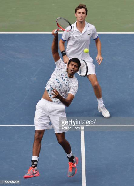 Rohan Bopanna of India and Edouard RogerVasselin of France in action during men's doubles final match against Jamie Murray of Great Britain and John...