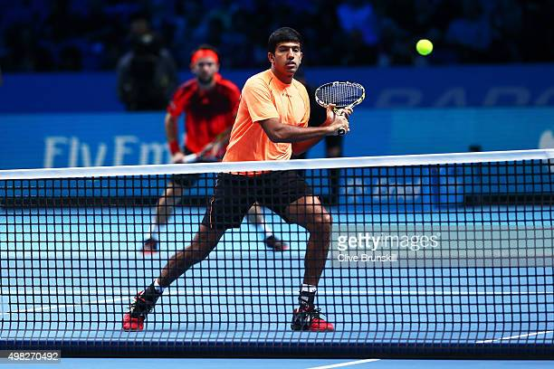 Rohan Bopanna of India and Florin Mergea of Romania in action during the men's doubles final against JeanJulien Rojer of France and Horia Tecau of...
