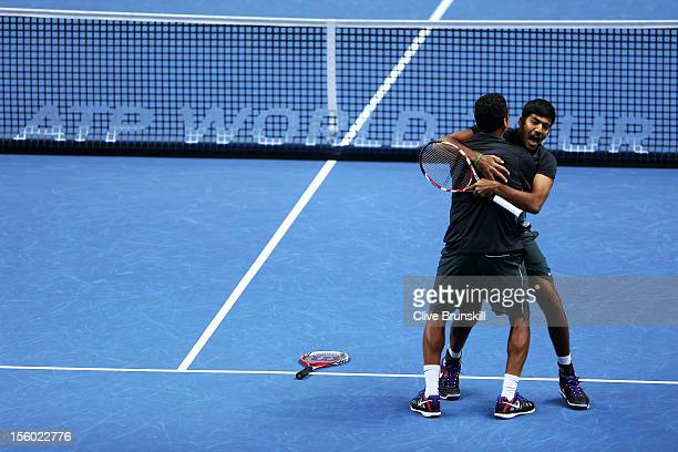Rohan Bopanna of India and Mahesh Bhupathi of India celebrate victory after their men's doubles semifinal match against Radek Stepanek of Czech...
